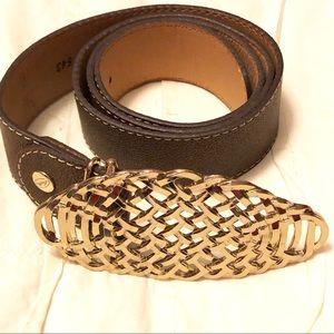 Leather glitter brownish belt size large